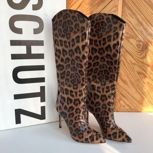 SCHUTZ Maryana Leopard Leather Knee High Boot